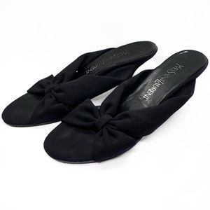 Yves Saint Laurent Shoes - YVES SAINT LAURENT YSL BLACK BOW SHOES SANDALS 7